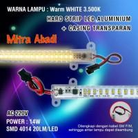 Hard Strip LED SMD 4014 14W Warm White AC 220V + Casing Transparan 1 M