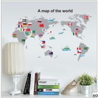 Wall Sticker / Wall Stiker / Wallsticker / Dinding 89 World Map Grey