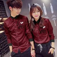 Kemeja Couple Korean Style Love terbaru