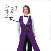 Long vest all purple bludru ungu tua rompi panjang pelayan waitress