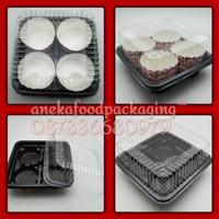 Tray/box/mika cupcake muffin isi 4cakes