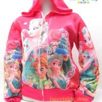 Jaket Frozen anak cewek topi 2-4th / jaket karakter anak perempuan