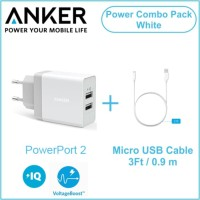 ANKER WALL CHARGER POWERPORT 2 FOLDABLE & 3FT MICRO USB PUTIH