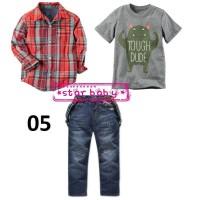 Setelan Kemeja Merah Lengan Panjang dan Jeans Anak Cowok - 3-4 tahun