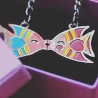 Couple Kissing Fish Keychain Magnetic - Bagus utk Souvenir +Box,Ready!