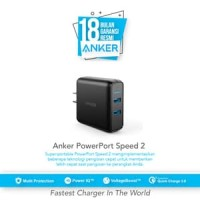 Anker Wall Charger PowerPort Speed2 QuickCharge 3.0 Hitam - A2025J11