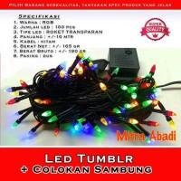Lampu Natal RGB Kabel Hitam 100 LED 10 Meter + Colokan Sambung