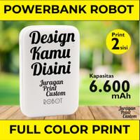Custom Print Powerbank Robot RT7200 Dual USB 6600mAh cetak 2 sisi