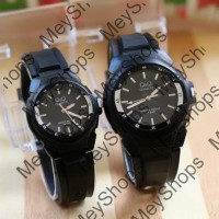 jam tangan couple qnq pria wanita / jtr 1152 hitam