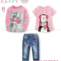KH 60 H Teen - Girl Sets 3 In 1 - Jeans Bordir - Setelan Anak Import