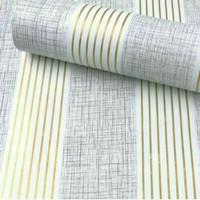 Stripe salur gold kombinasi 45 cm x 10 mtr ~ Wallpaper dinding sticker