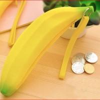 tempat pensil silikon berbentuk pisang asli