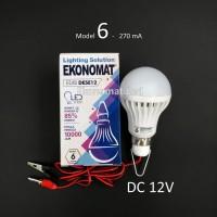 Lampu LED Ekonomat DESE12 6W DC 12V Aki Solar Cell Panel Surya Capit