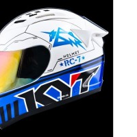 HELM FULL FACE ORI KYT MOTIF RC SEVEN WHITE BLACK BLUE
