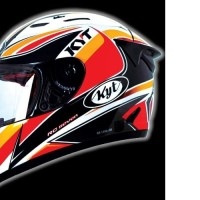 HELM FULL FACE ORI KYT MOTIF RC SEVEN BLACK RED ORANGE GUNMETAL