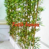 partisi bambu/bunga hias/bunga plastik