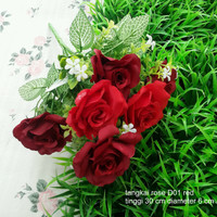 jual dekorasi bunga tangkai mawar rose artificial merah tanaman