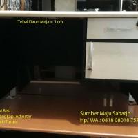 Meja Kerja Kantor Staff KAKI BESI PUTIH-MAPLE Ukuran 120x60 cm PRINT