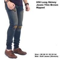 celana panjang jeans pria ripped / celana jeans sobek panjang pria - Navy, 29