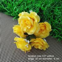 jual dekorasi bunga tangkai mawar kuning artificial rose yellow shabby