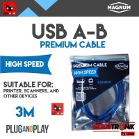 Kabel USB A-B 3M MAGNUM Printer Scanner AB 3 Meter ORIGINAL HQ Premium
