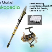 Paket Pancingan 2.7M, Reel 10 Ball Bearing, Kail No 3-12 Set