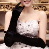 Sarung tangan pesta bridal party gloves satin hitam panjang - Hitam
