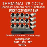PAKET CCTV GLENZ 5MP 2560P 16 CHANNEL FULL HD KOMPLIT TINGGAL PASANG