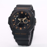 Jam Tangan Pria Digitec Original Man 5066 Rubber Black List Gold