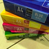 Kertas Fotocopy HVS A4 Warna 70 Gram Sinar Dunia Alat Tulis Kantor ATK