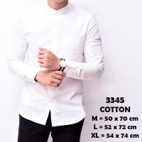 Baju Kemeja Lengan Panjang Casual Pria Putih Polos Slimfit 3244