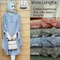 Tunik Blus Worie Longtop Model Baju Gamis Atasan Wanita Muslim Modern.