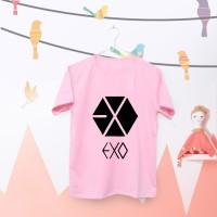 Tumblr Tee / T-Shirt / Kaos Wanita Lengan Pendek EXO LOGO Warna Pink