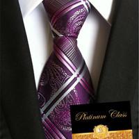 dasi batik import ungu kombinasi platinum class
