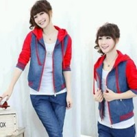 Jaket Ladies Chery Jeans Combi Babyterry Red