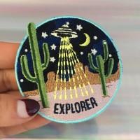 Explorer Area51Desert UFO 7x7CM Patch Iron Tidak Custom Bordir EMBLEM