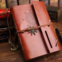 Buku Catatan Binder Kulit Retro Compass / Buku Agenda Cover Kulit