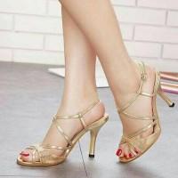 diskon High Heel Heels Mewah Cantik Murah Pesta Tali Gold super murah
