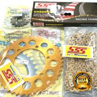 Gear set SSS Ninja 250 Fi/ RR/ ZX/ RR Mono Gold Aluminium Termurah