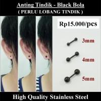 Anting Tindik Cowok Pria - Black Bola