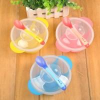 Set Mangkok Sendok Sensor Panas Set Makan Bayi w/ Suction Anti Tumpah