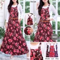 overall katun motif bunga gamis maxi dress setelan hijab playsuit