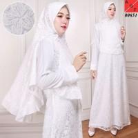 Baju Syari Wanita / Gamis Putih / Muslim Wanita #80651 STD