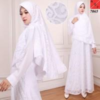 Baju Syari Wanita / Gamis Putih / Muslim Wanita #7065 STD