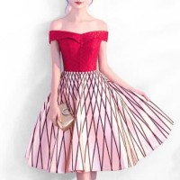 Baju Dress Pesta Cocktail Merah Sabrina Heartshape Sangit Imlek