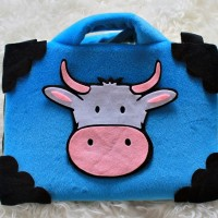 "Sapi Biru 13-14"" softcase/tas laptop,netbook,notebook lucu"