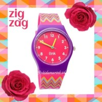 Linkgraphix PP10 ZIG ZAG Jam Tangan Remaja Wanita HOT PINK Link Watch