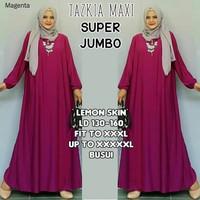 Gamis Jumbo Polos Busui Jersey Magenta / Dress Muslim Big Size Murah
