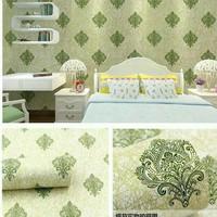 wallpaper damask hijau 45 cm x 10 mtr ~ Wallpaper sticker dinding
