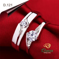 Cincin Kawin Tunangan D.121 Couple Emas Putih 25% dan Perak